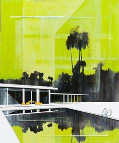 © Paul Davies ~ Green Sky, Green Pool ~ 2009 acrylic on linen at Tim Olsen Gallery Sydney Australia