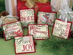 Cross stitch six Christmas ornaments with six different sayings & designs -- all using the highest quality materials and vibrant colors. This kit contains 14-count ivory Aida, cotton floss, felt, needle and easy instructions. Make these for yourself or give them as a gift!