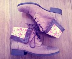 boot floral, fashion, style, heel, floral shoe, price tags, closet, brown boots, combat boots