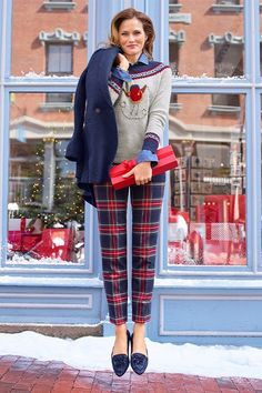 Pretty plaids and festive sweaters. Definitely a reason to jump for joy, | Talbots Winter 2019