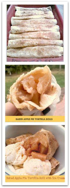 Baked Apple Pie Tortilla Rolls!  Easy & so good!