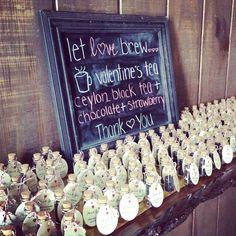 """Let Love Brew"" Valentine's tea as wedding favors.  Ceylon black tea, chocolate, and strawberry.  #jennandandrew712"
