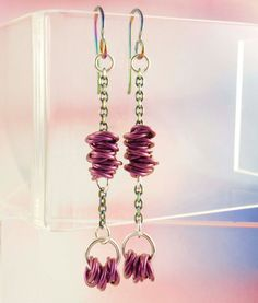 #chainmaille Look Sharp #Hypoallergenic #Purple #Niobium #Earrings by unkamengifts, $40.00