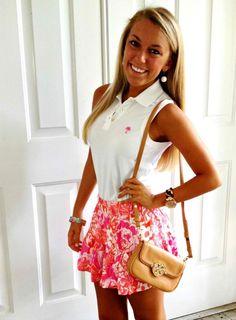 sleeveless polo, lilly skater skirt
