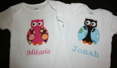 Twin Owl Onesies by touchofgraydesigns on Etsy, $33.00
