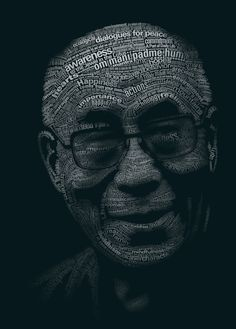 Tribute to the Dalai Lama by yatu-ex: A picture is worth a thousand words ? #Typography #Typography_Portrait #Dalai_Lama #yatu-ex