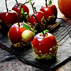 Rustic Candy Apples with Roasted & Crushed Pistachios   Published by FoodGawker   Click for Amazing 5-Ingredient Recipe!! A Bachelor and His Grill