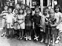 Bill Clinton (far left) at Miss Mary's Kindergarten in Hope, Arkansas.