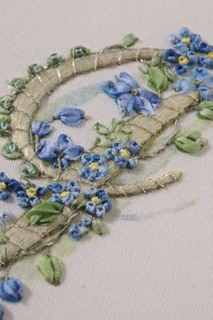 Silk ribbon embroidery with couching