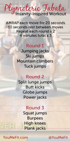 A 12-minute Tabata style circuit workout inspired by plyometric moves from the Insanity videos. 4/25/13...did 3 rounds in 20 minutes...I've been working my legs a lot so this was especially hard today, but an excellent way to hit tabata and plyo in a quick workout.