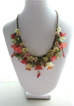 Flower Charm Necklace, Spring Garden, Lucite Flower Jewelry, Spring Berry Blush, Floral Accessories, Soft Yellow. $92.00, via Etsy.