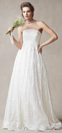 Melissa Sweet Strapless A Line Organza Gown with Empire Waist Style MS251077
