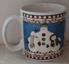Sakura Debbie Mumm Jolly Snowman Mug 2000 Christmas Holiday Blue Coffee Cup Mug - This Item is for sale at LB General Store http://stores.ebay.com/LB-General-Store