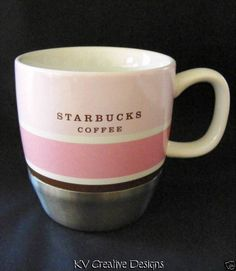 $15.99 2007 Starbucks Coffee Urban Stainless Steel Pink White Stripe 10 oz Mug Tea Cup | eBay
