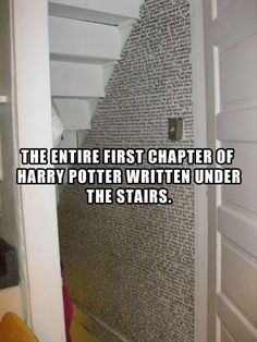 The entire first chapter of Harry Potter written under the stairs