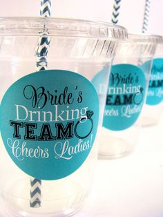 Bride's Drinking Team,  Bachelorette Party Cups, Set of 12