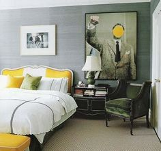 chair, beds, color schemes, gray bedroom, world of interiors, bedrooms, apartments, upholstered headboards, kate spade