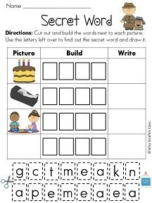 """Secret Words with a_e words! """"Read,"""" Build, Write with a fun twist! Students look at the picture, cut and paste the letters at the bottom to build the long A word, then write the word. After they build all their words, the remaining letters will spell the """"secret"""" word. Then they build, write, and illustrate it in the empty box.  BW & Color versions---  Kid favorite!"""