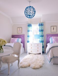 House of Turquoise: Tracy Hardenburg Designs - turquoise and purple girls room