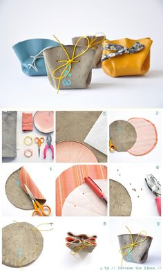 DIY: simple drawstring coin purse.  I think these would make great gift bags.