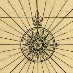 Antique map compass rose
