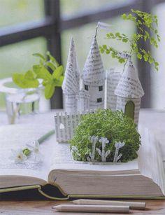 book art, paper castl, paper tower, old books