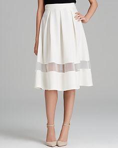 white full skirt with a sheer inset #midiskirt