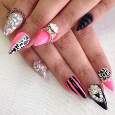 rhineston point, black cheetah, point stiletto, sparkl rhineston, stiletto nails