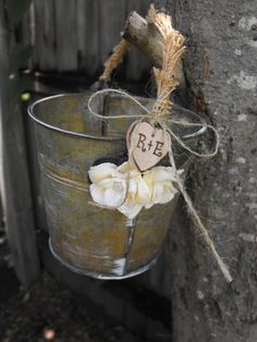 Flower Girl Basket Alternative Distressed Personalized Tin Bucket Rustic Woodland Outdoor Country Chic Wedding on Etsy, $24.99