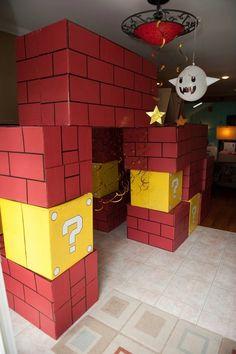 Pam-a-rama ding dong: Mario Party! mario party, birthday parti, cardboard boxes, ding dong, parties, mario parti, bricks, pamarama ding, super mario bros