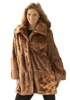 Woman Within Plus Size Fur Swing Jacket In Soft Polyester Mink Look (Caramel,L) Woman Within. $39.88