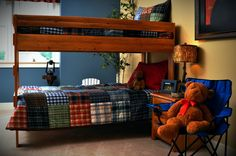 Boys Bedroom Outdoor /Camping theme with bunkbeds.  #ownalandmark