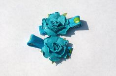 blue rose clippies summer hair accessories by mylittlebows on Etsy,