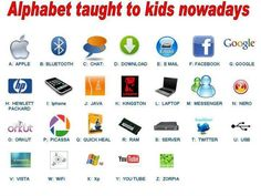 This would be good intro to parents this year with students having ipads. Education  Humor: Technology changing how kids learn the Alphabet
