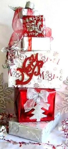 DIY Christmas Decoration Present Stack
