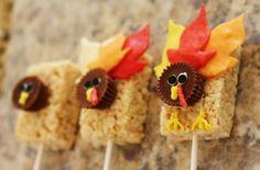 Thanksgiving Turkey Rice Krispie Treats ~ one of four ideas in my latest post with Kellogg's @Snackpicks #holidayentertaining