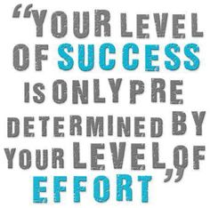 Your level of Success is only predetermined by Your level of Effort