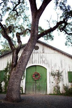 christmas wreaths, the doors, green doors, tree, barn doors, white barn, beauti barn, atelier, old barns