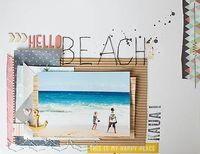 hellooooo beach! allison waken, beaches, american craft, layout idea, scrapbook inspir, scrapbook idea, scrapbook layout, beach scrapbook, hello beach