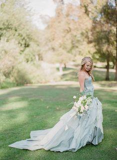Blue wedding gown via Wedding Sparrow blog - http://weddingsparrow.com