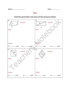 FREE Areas and perimeters of quadrilaterals-Quiz from Cool Math on TeachersNotebook.com -  (1 page)  - Areas and perimeters of quadrilaterals
