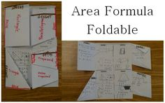 Rectangle, Parallelogram, Triangle, and Trapezoid Area Formulas… all in one awesome foldable!