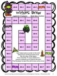 Halloween Math Games Second Grade by Games 4 Learning for bringing some Halloween fun into the classroom. This collection of Halloween math games contains 14 printable games that review a variety of second grade skills. These games are ideal as math center games. They are games that review math concepts while providing engaging math activities with a Halloween theme. $