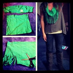 T-shirt into scarf! So easy to do with old tee's #DIY #scarves #tshirt