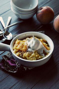 Dessert Recipe Easy 3 ingredient Peach Dump Cake Simple   Dine and Dish