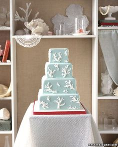 coral wedding cake for our seaside wedding