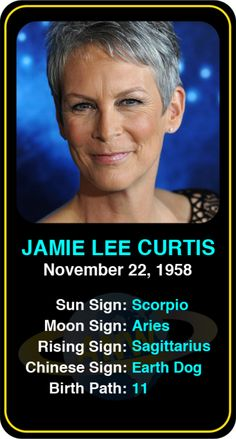 Celeb #Scorpio birthdays: Jamie Lee Curtis' astrology info! Sign up here to see more: https://www.astroconnects.com/galleries/celeb-birthday-gallery/scorpio?start=150 #astrology #horoscope #zodiac #birthchart #natalchart #jamieleecurtis