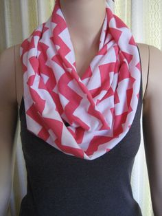 Watermelon Hot Pink Chevron Infinity Loop Scarf  by ChevronScarf
