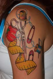 Cute combo of sewing supplies tattoo