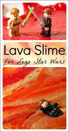 Molten Lava Slime for kids to reenact the duel between Obi-Wan and Anakin!  A fun sensory and pretend play experience for Lego Star Wars fans.